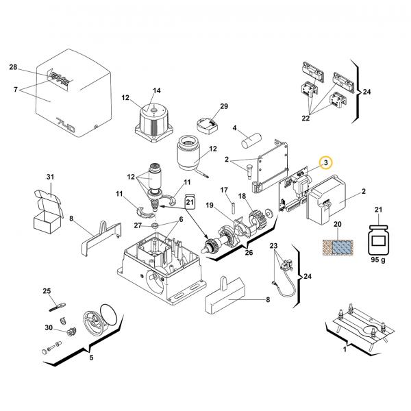 Faac 740 Kontrol Ünitesi (3 Numaralı Parça)