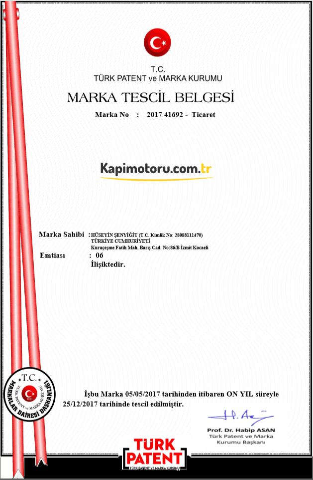 Kapimotoru.com.tr Marka Tescil Belgesi